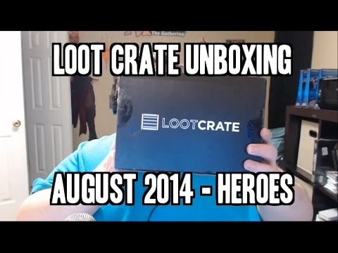 LOOT!!! - this is the august loot crate, 'heroes'! It has some real nice goodies in it, including an exclusive pop vinyl from guardians of the galaxy! check it out! want loot crate? http://www.lootcrate.c...