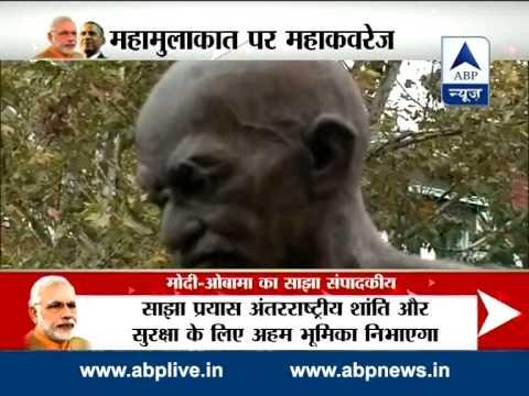 Indian-American gifts Mahatma Gandhi idol to PM Modi in Washington 30 September 2014 08 PM