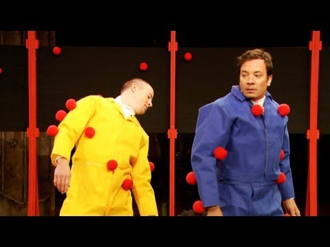 CHANNING TATUM - Jimmy and Channing don Velcro suits and race to see how many balls they can get to stick to each other. Subscribe NOW to Late Night with Jimmy Fallon: http:/...