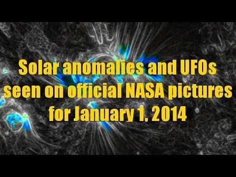 Solar anomalies and UFOs seen on official NASA pictures for January 1, 2014