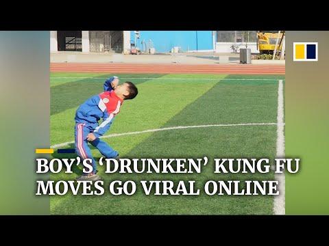 Chinese boy's 'drunken' kung fu moves go viral online