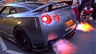 This Nissan GTR had the loudest exhaust I have ever heard on the R35 version. The flames were pretty big!