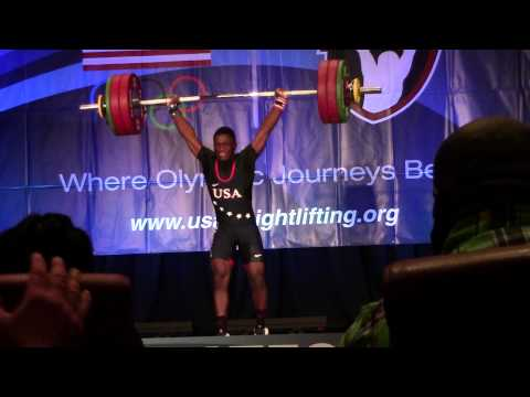 C.J. Cummings, a 14 year old, breaks the men's national clean and jerk record. Lifting 337.3 lbs at a bodyweight of 137 lbs.