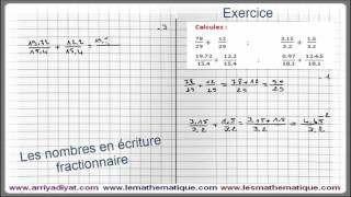 Maths 5ème - Les nombres en écriture Fractionnaire Exercice 2