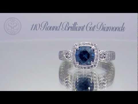 Beautiful Fancy Blue Diamond Halo Engagement Ring