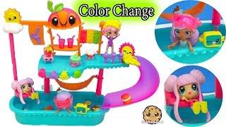 Shoppies Play at Kawaii Crush WaterPark Pool Playset with Color Change Doll & Season 5 Shopkins