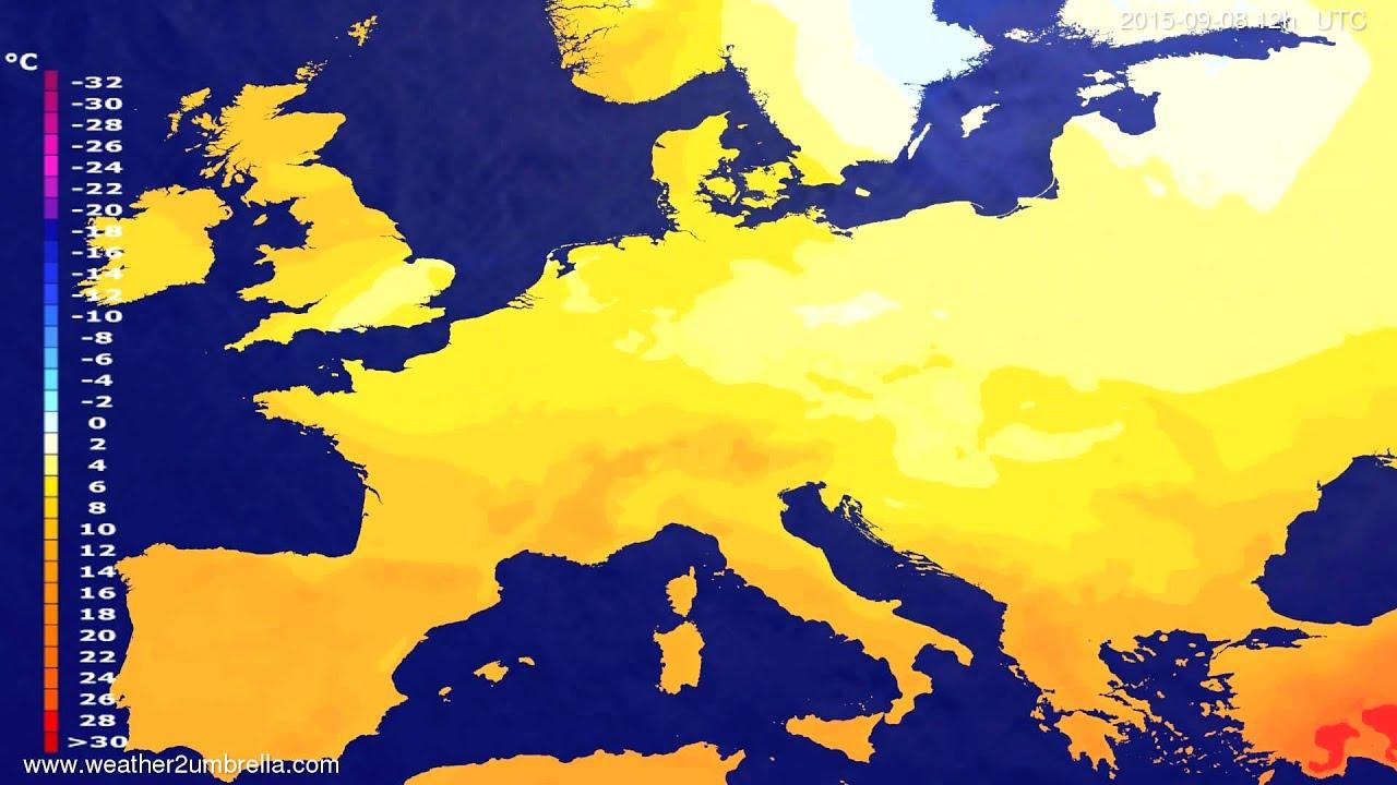 Temperature forecast Europe 2015-09-04