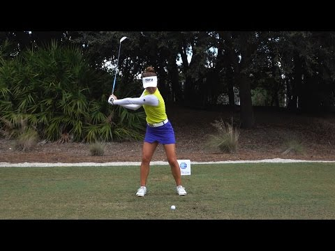 MINJEE LEE 120fps SLOW MOTION & FULL SPEED FACE-ON DRIVER GOLF SWING 1080p HD