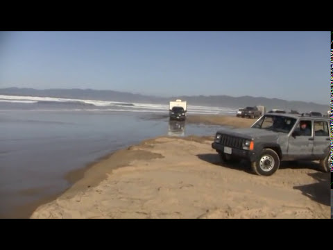 pismo - Dangerous High Tide at Pismo Beach River Crossing Good luck driving your motor home!