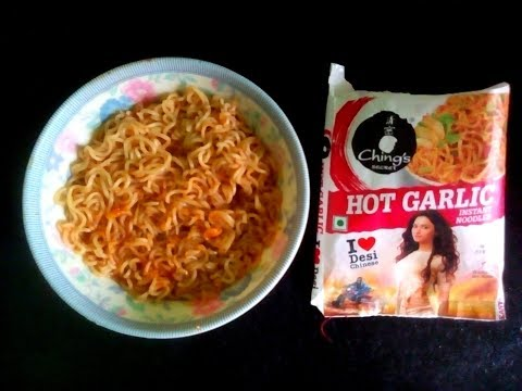 Ching's Secret Hot Garlic Instant Noodles Cooking & Eating | Spicy Instant Noodles