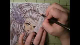 Real Time Drawing: Copic Markers and coloring pencils, The Valkyrie, Göndul part 9