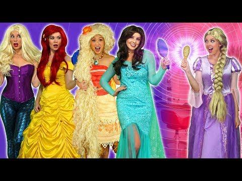 RAPUNZEL'S CRAZY HAIR SALON. (Ariel, Elsa, Anna, Moana, Belle, Hans, Gaston, and LeFou get New Hair)