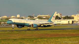 Warsaw (IN) United States  city photos : United States Air Force - Boeing C-32 sunset landing at Warsaw Chopin Airport [NATO Summit 2016]