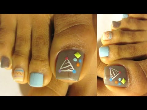 Uñas decoradas de los pies facil y bonito  /Pedicure design easy step by step