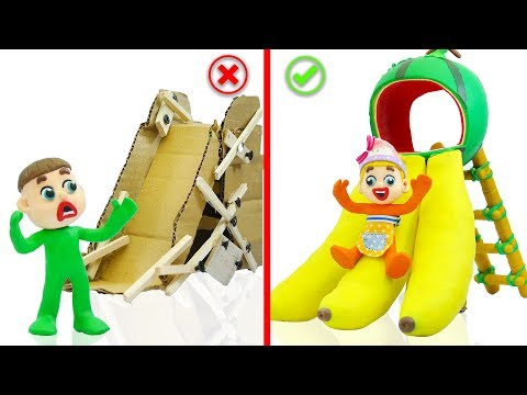 SUPERHERO BABY PLAYS COLORS FRUIT SLIDE 💖 Stop Motion Cartoons Animation