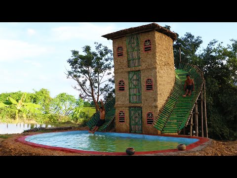 Build Three Story Mud House With Bamboo Water Slide Around House And Build Big Swimming Pool (full)