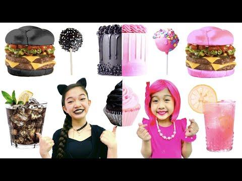 BLACK VS  PINK FOOD CHALLENGE | KAYCEE & RACHEL in WONDERLAND FAMILY