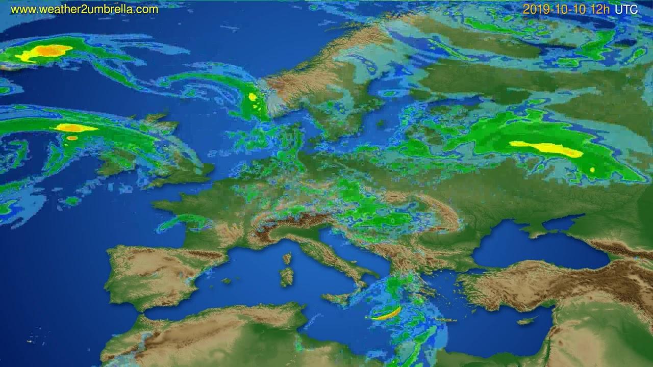 Radar forecast Europe // modelrun: 00h UTC 2019-10-10