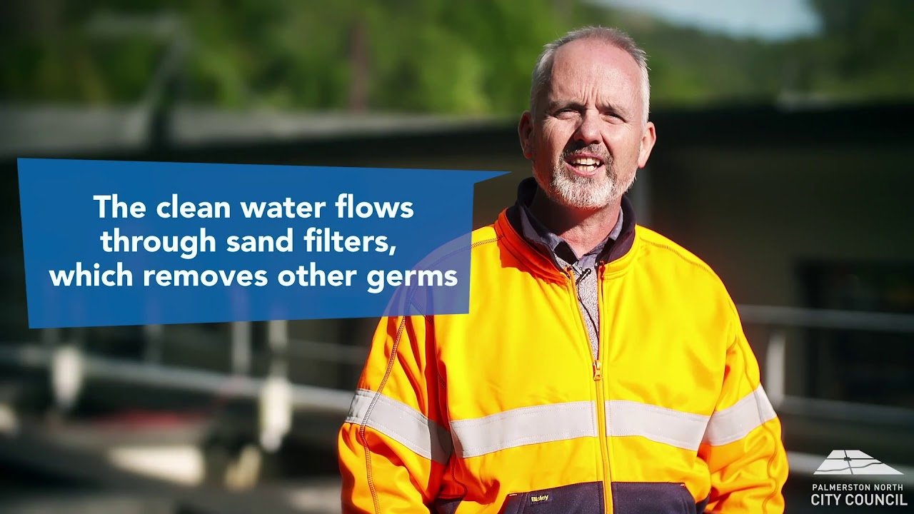 YouTube placeholder image shows man in hi-vis at the water treatment plant.