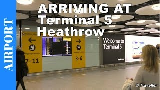 Arriving at London Heathrow Airport (LHR). If this is your first visit to London Heathrow Terminal 5 you should find this video helpful for getting an idea of the airport procedures when you arrive at London Heathrow Airport in the United Kingdom.This London Heathrow Airport footage is filmed from the disembarkation of our flight (a British Airways flight from Copenhagen), through the walk to arrivals area where we eventually purchase our London Underground rail tickets to London. Our walk begins where we have just disembarked our plane and are walking through Heathrow Airport´s Terminal 5 towards Immigration / Passport Control. To get to the Heathrow Immigration / Passport Control area we take an Airport Train Shuttle. The Passport Control process at Heathrow Airport was very quick as we used the automated Passport scanner (we are EU citizens). After clearing Immigration we start to make our way to the Heathrow Airport Terminal 5 Baggage Claim area. We quickly claim our luggage and then make our way through the airport Customs area where you choose the red entrance if you have something to declare or the green entrance if you have nothing to declare. Once we have passed Heathrow Airports Customs we find our selves in the Heathrow Airport arrivals. The arrivals area is full of people / chauffeurs waiting to pick up passengers. We have decided that we will make our way into London City with the London Underground (The Tube) and therefore the process of where to buy tickets for the train from Heathrow Airport to London is covered too. In our case we were advised to buy the London Oyster Travel Card, and we give viewers a brief explanation of what that is.All in all we found that Arriving at London Heathrow Airport Terminal 5 was easy and the airport signs were very good in pointing us in the right direction. The only issue / confusing part was whether or not we were supposed to use the Airport Shuttle transfer to get to the Immigration area or whether the Heathrow Air