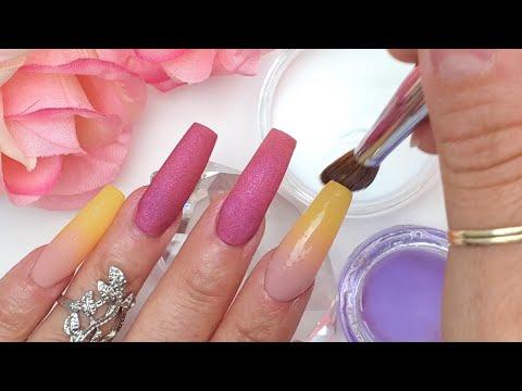 Uñas decoradas - Uñas Rosa Violeta con efecto Ombre en Amarillo Mostaza +foil Miguel Antúnez