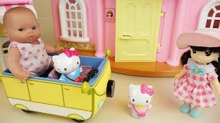 Baby doll and Hello Kitty Yellow Bus and house toys play
