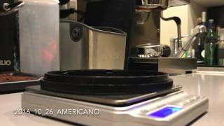 Making an americano with a Rancilio Silvia. Tamping was a bit off causing some channeling.