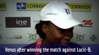 Venus Williams comenta sua primeira vitória no Brasil Tennis Cup