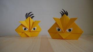 Оригами. Как сделать птицу из игры Angry Birds (видео урок)