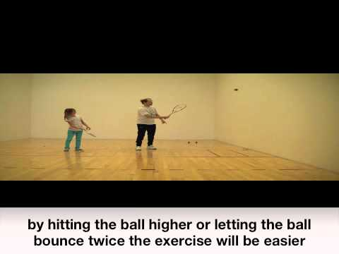 Squash instruction for 9 year olds , ballcontrol in various situations