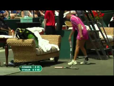 Vera Zvonareva vents her anger after a double fault