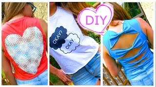 DIY Clothes! 3 DIY Tops from T-Shirt (Lace Heart, Graphic, Bows) - No Sew! Easy - YouTube