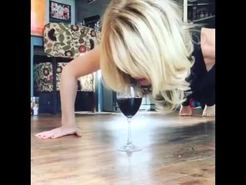 "HOT: Beautiful girl "" wine workout """