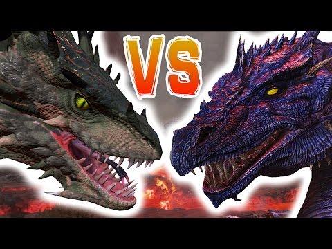 ARK   WYVERN VS DRAGON BOSS   Dragon Boss VS Wyvern Basic Attacks  - Arena Battle Gameplay