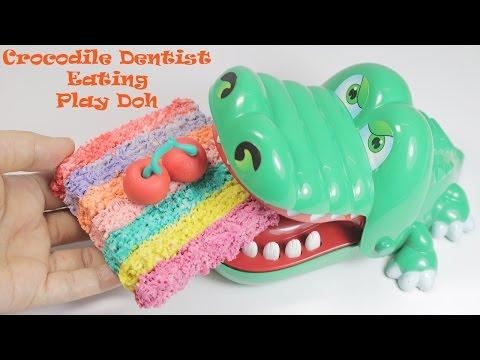 Crocodile Dentist Eating a Play Doh Cake Playdough For Kids - Eating No Talk_Legjobb videók: Fogorvos