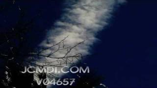 V04657 Timelapse zoomed jet trail passing over trees