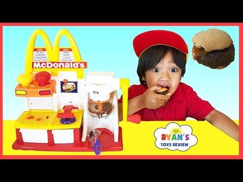 MCDONALD'S HAMBURGER MAKER & McDonald's Cash Register Toys for Kids pretend Play Feed Pet Shark food
