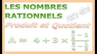 Maths 4ème - Les nombres rationnels Produit et Quotient Exercice 29