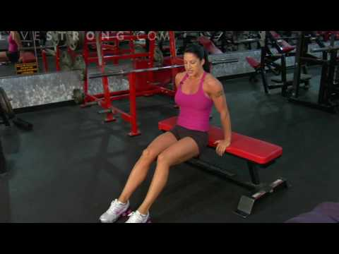 dips - Get the triceps stronger with triceps bench dips. Learn how to strengthen muscles with dip exercises in this fitness video.