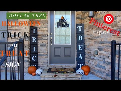dollar tree halloween diy diy trick or treat sign diy halloween decor pinterest