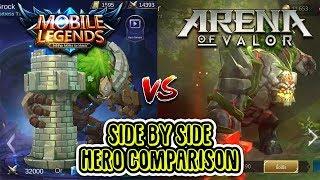 Mobile Legends VS Arena of Valor side by side hero comparison