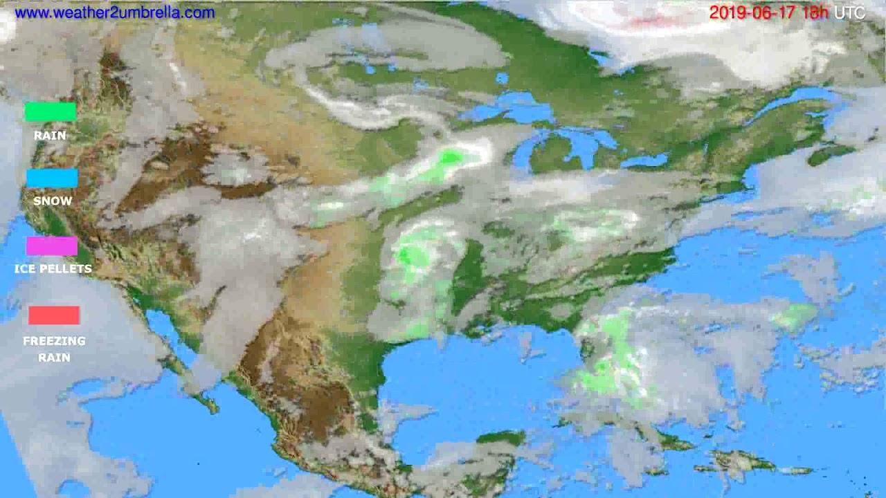 Precipitation forecast USA & Canada // modelrun: 00h UTC 2019-06-15
