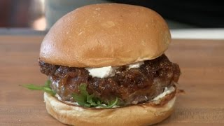 Lamb Burger With Onion, Fig Jam & Goat Cheese! by Ballistic BBQ