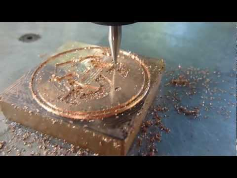 CNC machine engraving on copper
