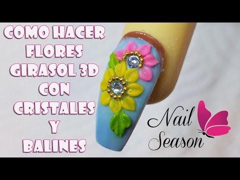 Diseños de uñas - Uñas de acrilico para principiantes - Flor 3d Girasol paso a paso