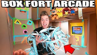 BOX FORT ARCADE!! 📦🕹 Won All The Tickets - Basketball, Skee Ball, Foosball & More