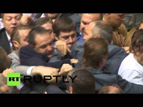 Brawl - A mass brawl broke out in the Ukrainian parliament, the Verkhovna Rada, in Kiev on Tuesday, as deputies from the Party of Regions fought with members of the Svoboda party over limited mobilization...