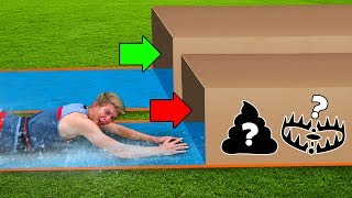 DONT Water Slide through the Wrong Mystery Box!!