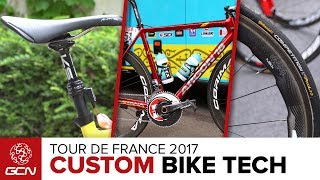 We take a look around the teams at the Tour de France 🇫🇷  to see what custom bike tech we can find 🔎  There's some hidden gems!Subscribe to GCN: http://gcn.eu/SubscribeToGCNGet exclusive GCN gear in the GCN shop! http://gcn.eu/hiLet us know in the comments below what is your favourite bit of kit in this video 👇We were lucky enough to find some amazing bits of customised bike tech for you lucky lot.Tech we managed to get a look at includes- Marcel Kittel's customised green jersey bike- Amael Moninard's BMC including a quick release seatclamp...- Mavic's neutral service bikes featuring a dropper seatpost!- Sergio Henao's Pinarello F10 with custom colours and details of national championship victory!- Marcel Kittel's Specialized Venge Vias Disc - Andre Greipel's Ridley Noah SL featuring a gorilla edition paintwork- Fabio Aru's Argon18 Gallium Pro with an incredible red paintwork- Zipp 454 NSW wheels in tubular version! If you'd like to contribute captions and video info in your language, here's the link 👍  http://gcn.eu/hjWatch more on GCN...How To Pack For The Tour De France With Adam Hansen, 'Mr Grand Tours'  📹  http://gcn.eu/29aRiKoNEW Trek Émonda Version 2  GCN's First Look  📹  http://gcn.eu/gvPhotos: © Bettiniphoto / http://www.bettiniphoto.net/ & ©Tim De Waele / http://www.tdwsport.comAbout GCN:The Global Cycling Network puts you in the centre of the action: from the iconic climbs of Alpe D'Huez and Mont Ventoux to the cobbles of Flanders, everywhere there is road or pavé, world-class racing and pro riders, we will be there bringing you action, analysis and unparalleled access every week, every month, and every year. We show you how to be a better cyclist with our bike maintenance videos, tips for improving your cycling, cycling top tens, and not forgetting the weekly GCN Show. Join us on YouTube's biggest and best cycling channel to get closer to the action and improve your riding!Welcome to the Global Cycling Network  Inside cyclingThanks to our sponsors:Alta B