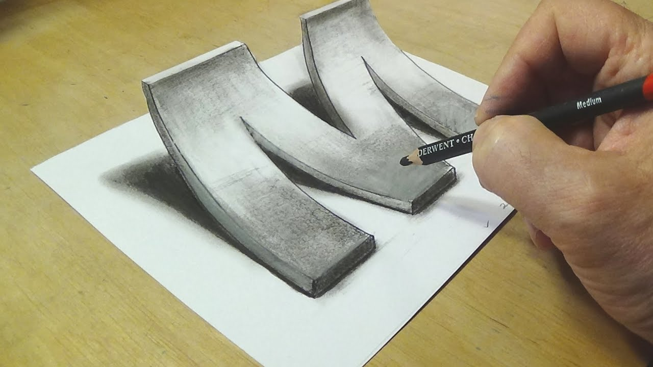How to Draw 3D pencil drawing Letter M - 3D Drawing tutorial By Vamos